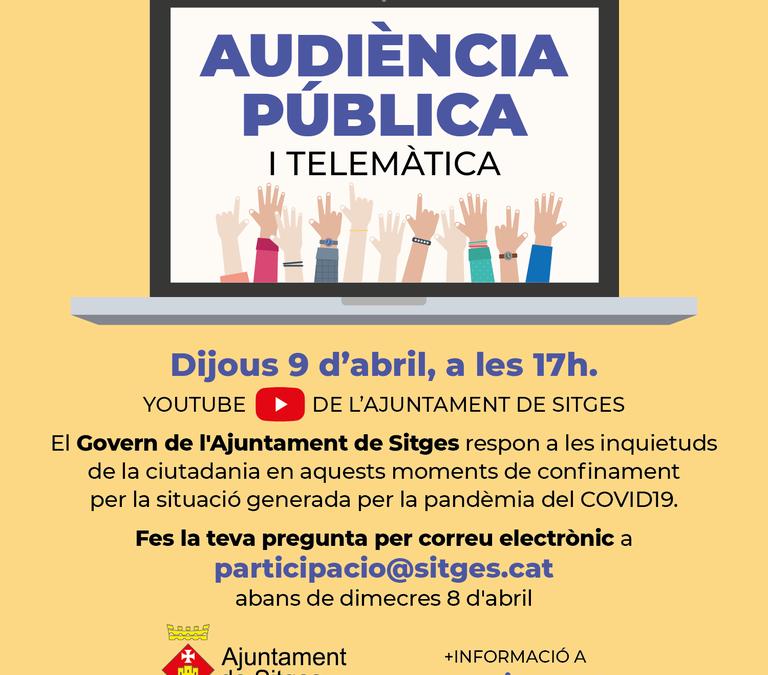 La ciutadania de Sitges podrà participar en l'audiència pública telemàtica d'aquest dijous sobre el coronavirus