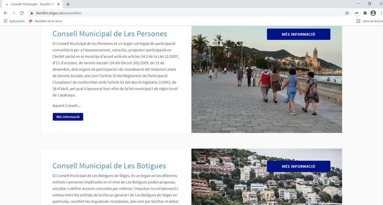 El portal de participació de Sitges amplia el contingut amb un apartat dedicat als Consells Municipals